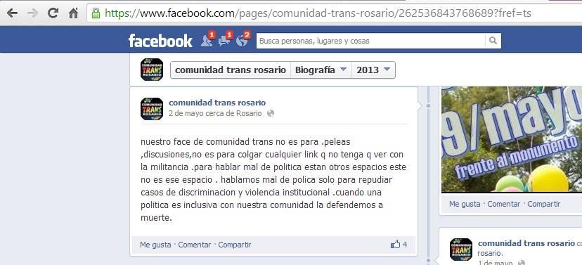 La diversidad sexual se expresa en Facebook: Comunidad Trans Rosario.